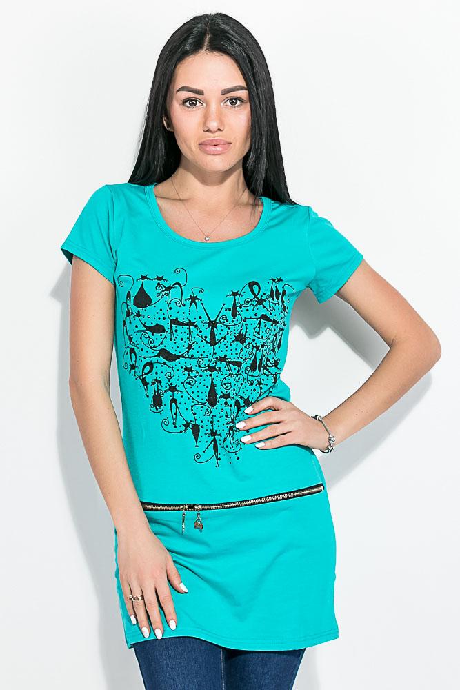 Купить Туника женская, летняя с животным принтом 81P6073, Time of Style, Изумрудный