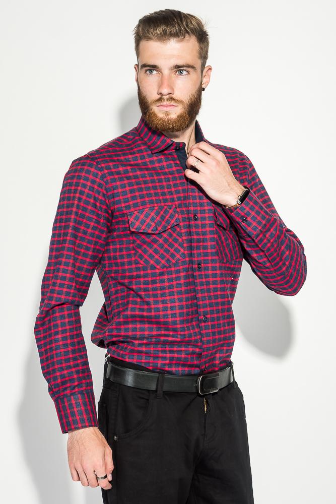 Купить Рубашка мужская теплая, в клетку 50PD0041-3, Time of Style, Сине-бирюзовый, Сине-зеленый, Красно-синий, Сине-горчичный
