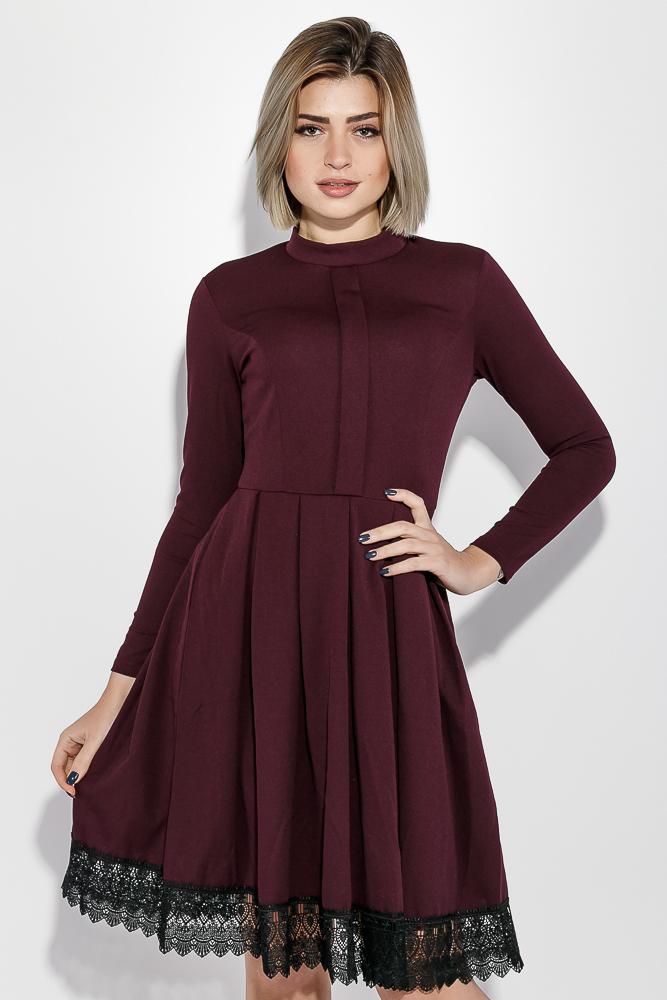 Купить Платье женское с кружевом на подоле 69PD943, Time of Style, Бутылочный, Марсала, Черный