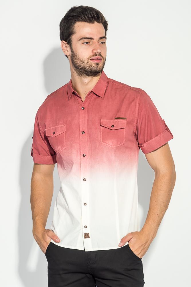 Купить Рубашка мужская градиент 50P022, Time of Style, Джинс, Желто-белый, Бордово-белый, Морковно-белый