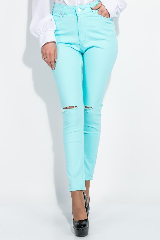Купить Женские брюки, Брюки женские с порезами 282F007, Time of Style, Мятный, Графит, Голубой, Фиолетовый, Песочный, Чернильный