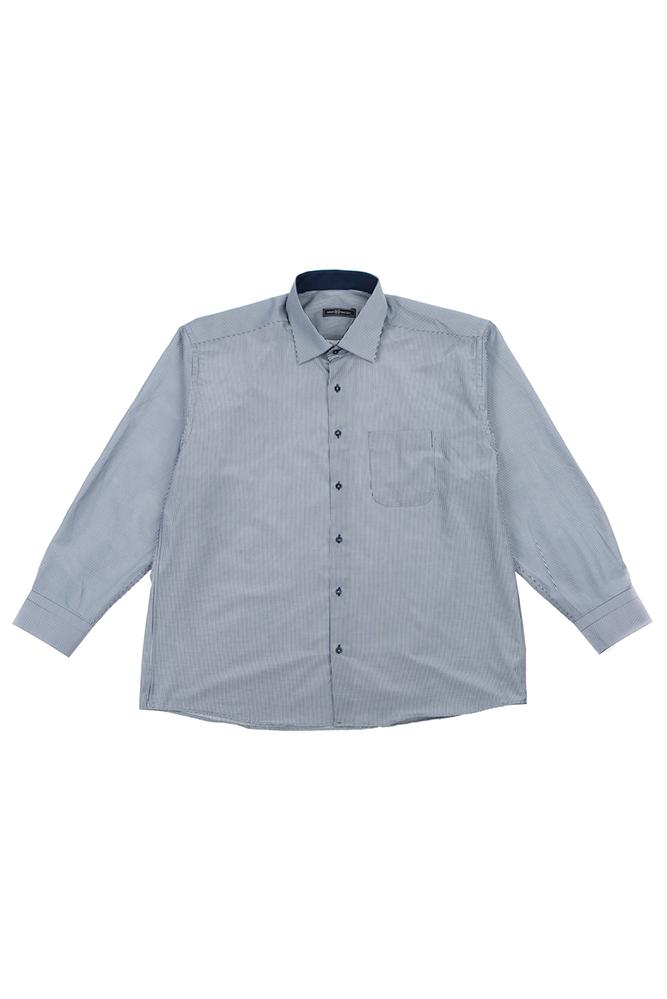 Купить Рубашка мужская (батал) в тонкую полоску 50PD31460, Time of Style, Серо-белый, Сине-белый, Бело-голубой