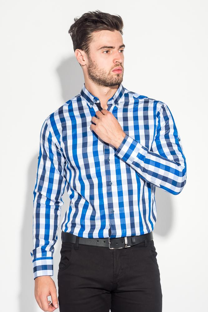 Купить Рубашка мужская крупная клетка 50PD0048, Time of Style, Клетка сине-голубая, Клетка Сине-Бирюзовый
