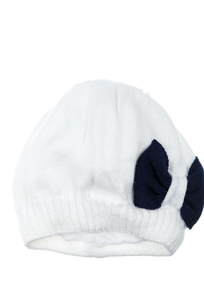 Купить Шапка детская (для девочки) с бантом 65PG19-016 junior, Time of Style, Бело-синий, Серо-грифельный, Темно-синий-белый, Темно-синий-малина