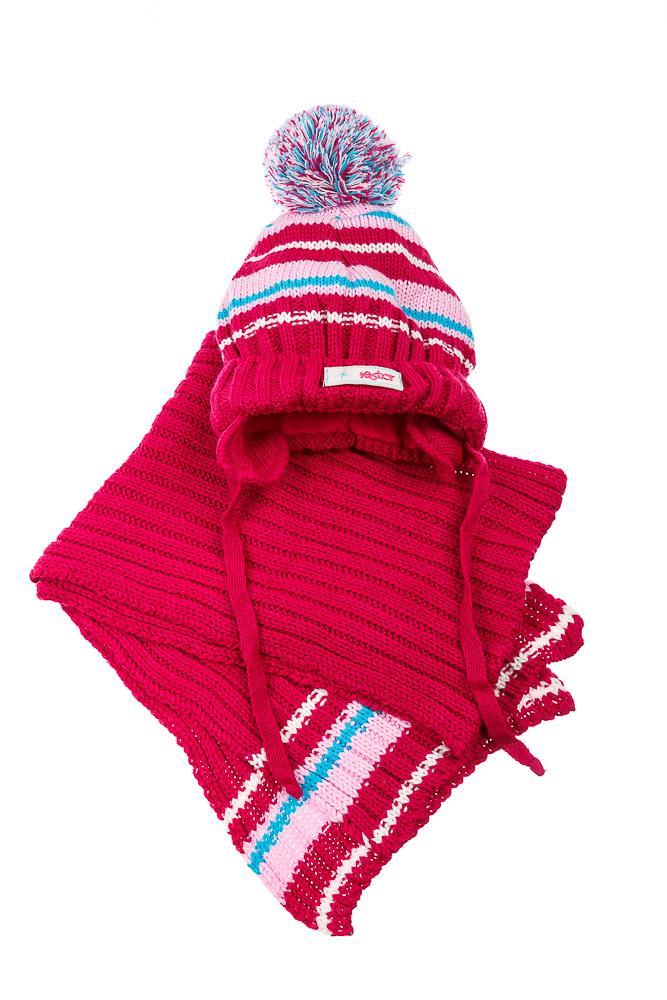 Купить Комплект детский (для девочки) шапка и шарф в полоску 65PG0009 junior, Time of Style, Розовый, Малиновый