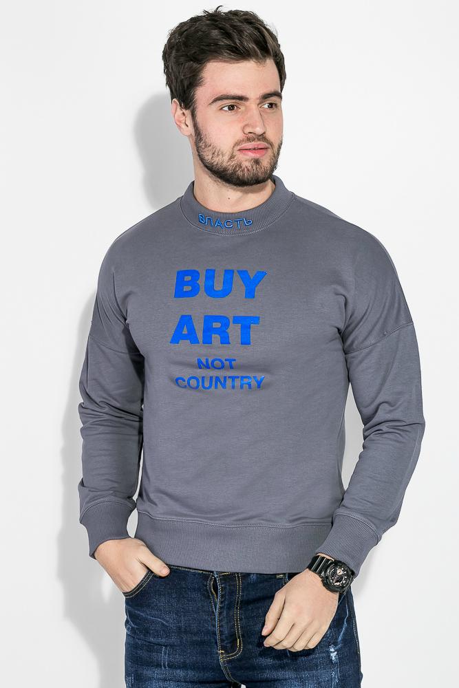 Купить Свитшот мужской, с принтом на груди и вышевкой на воротнике 82PD886, Time of Style, Коричневый (темный), Серо-синий