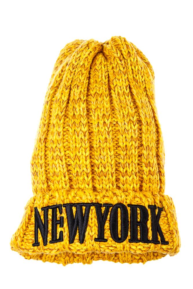Купить Шапка женская с комбинированной вязкой 259V001-3, Time of Style, Желто-горчичный, Оранжевый, Желто-коричневый