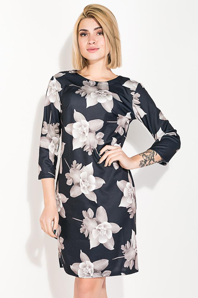 Купить Платье (полубатал) с цветочным принтом 72PD132, Time of Style, Черный, Бордо, Темно-синий, Синий, Электрик