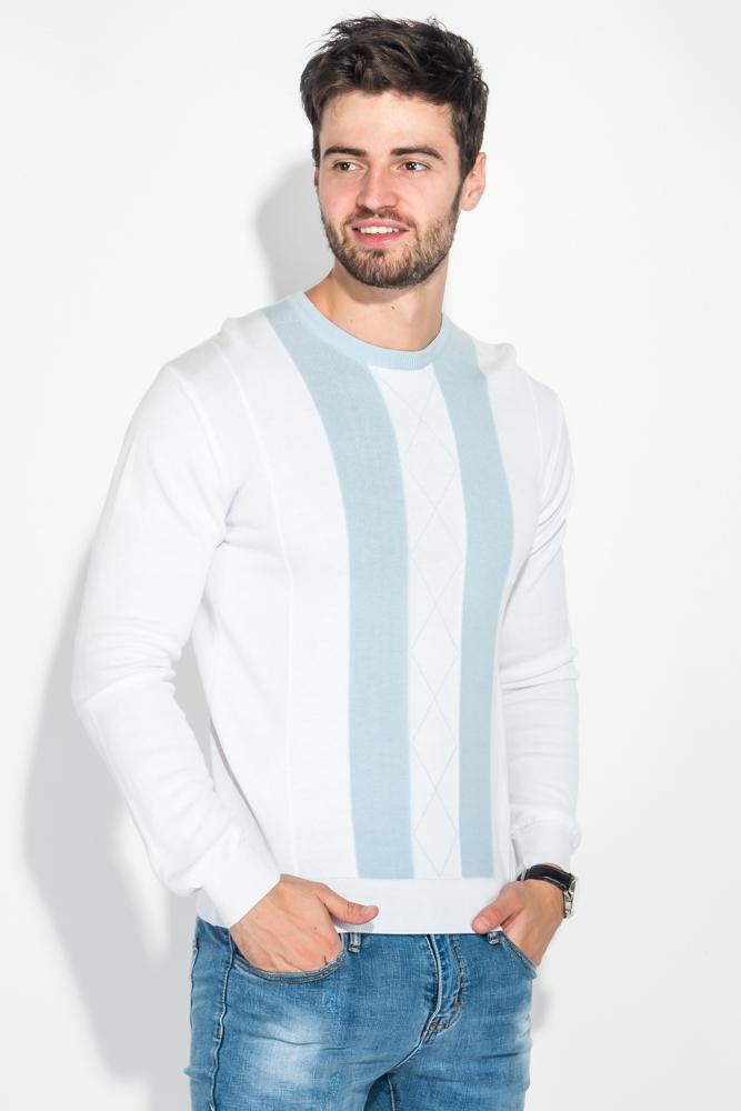 Купить Джемпер мужской в полоску вертикальную 50PD312, Time of Style, Черно-голубой, Бело-голубой, Серо-розовый, Оливковый